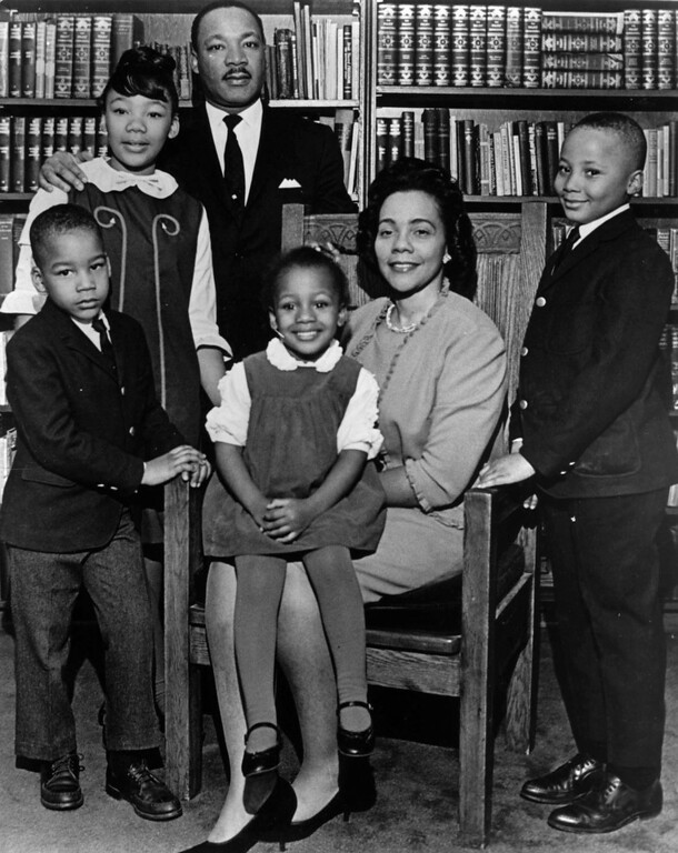 Description of . This 1966 photo is the last official portrait taken of the entire King family, made in the study of Ebenezer Baptist Church in Atlanta. From left are Dexter King, Yolanda King, Martin Luther King Jr., Bernice King, Coretta Scott King and Martin Luther King III. In 1963, Martin Luther King Jr. declared,