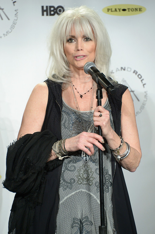 Description of . Recording artist Emmylou Harris attends the 29th Annual Rock And Roll Hall Of Fame Induction Ceremony at Barclays Center of Brooklyn on April 10, 2014 in New York City.  (Photo by Michael Loccisano/Getty Images)
