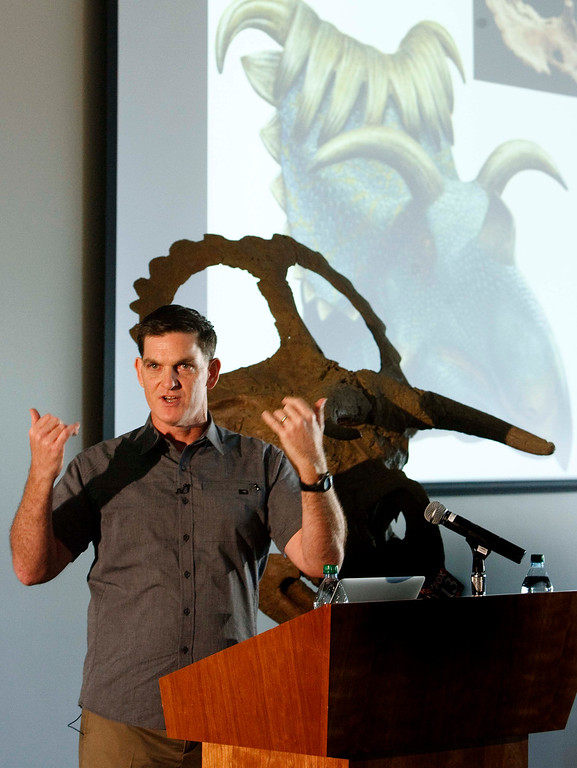 Description of . Leah Hogsten  |  The Salt Lake Tribune Scott Sampson, vice president of research and collections at the Denver Museum of Nature & Science, gives details about the appearance and habitat of Nasutoceratops. The newly named dinosaur, Nasutoceratops titusi, was unveiled by paleontologists from the Natural History Museum of Utah, the Bureau of Land Management and the Denver Museum of Nature & Science at Utah\'s Natural History Museum in Salt Lake City Wednesday, July 17, 2013. It was discovered in 2006 in the Grand Staircase-Escalante National Monument.