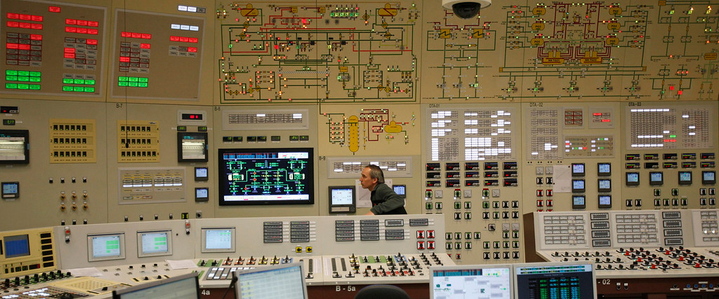 Description of . An employee works in the central control room during a nuclear accident simulation as part of a safety regulations exercise at Nuclear Power Plant Dukovany in Dukovany March 26, 2013.     REUTERS/David W Cerny