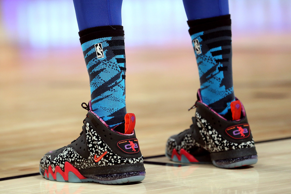 Description of . HOUSTON, TX - FEBRUARY 15:  The Nike shoes worn by Anthony Davis #23 of the New Orleans Hornets and Team Chuck are seen in the BBVA Rising Stars Challenge 2013 part of the 2013 NBA All-Star Weekend at the Toyota Center on February 15, 2013 in Houston, Texas.  (Photo by Ronald Martinez/Getty Images)