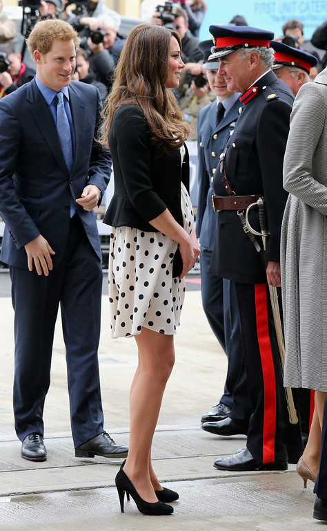Description of . Catherine, The Duchess of Cambridge (2-L) and Prince Harry arrive for a visit at the Warner Brother\'s studio in Leavesden on April 26, 2013.  Chris Jackson/AFP/Getty Images)