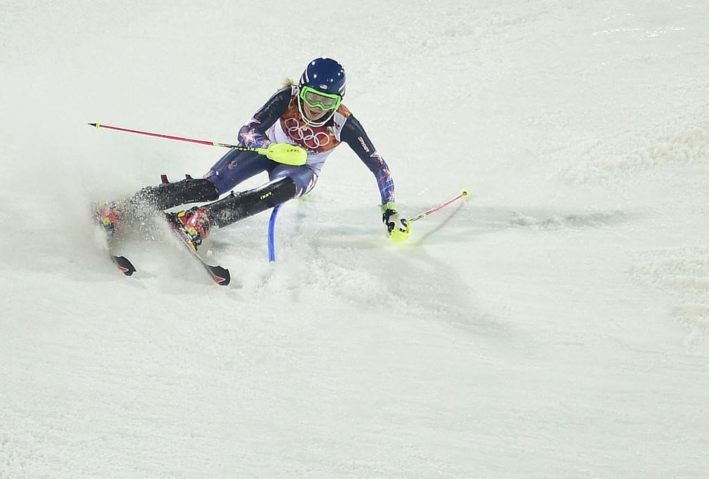Description of . US skier Mikaela Shiffrin skis to gold in the Women's Alpine Skiing Slalom Run 2 at the Rosa Khutor Alpine Center during the Sochi Winter Olympics on February 21, 2014.    AFP PHOTO / OLIVIER MORIN/AFP/Getty Images