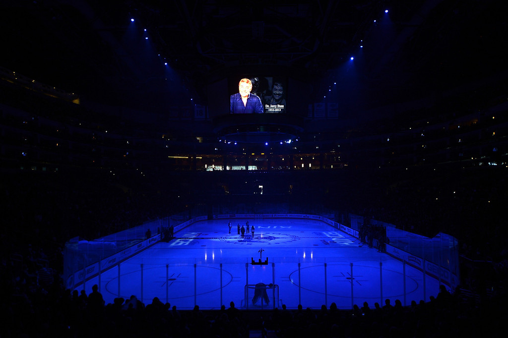 Description of . LOS ANGELES, CA - FEBRUARY 23:  A moment of silence for Dr. Jerry Buss before the game between the Colorado Avalanche and the Los Angeles Kings at Staples Center on February 23, 2013 in Los Angeles, California.  (Photo by Harry How/Getty Images)