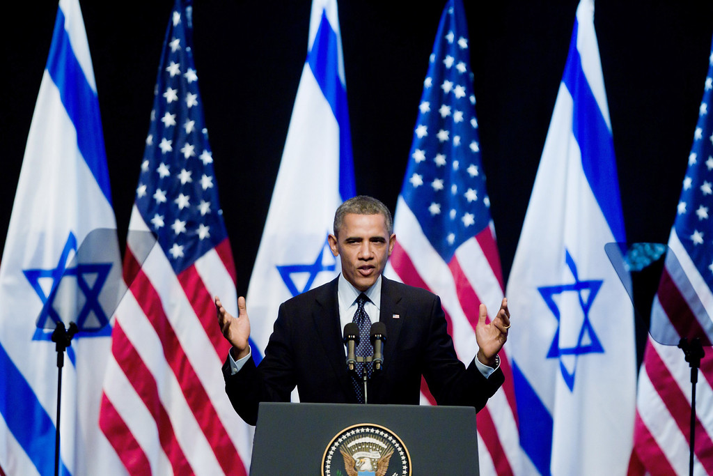Description of . U.S. President Barack Obama speaks to Israeli students at the International Convention Center on March 21, 2013 in Jerusalem, Israel.  (Photo by Uriel Sinai/Getty Images)