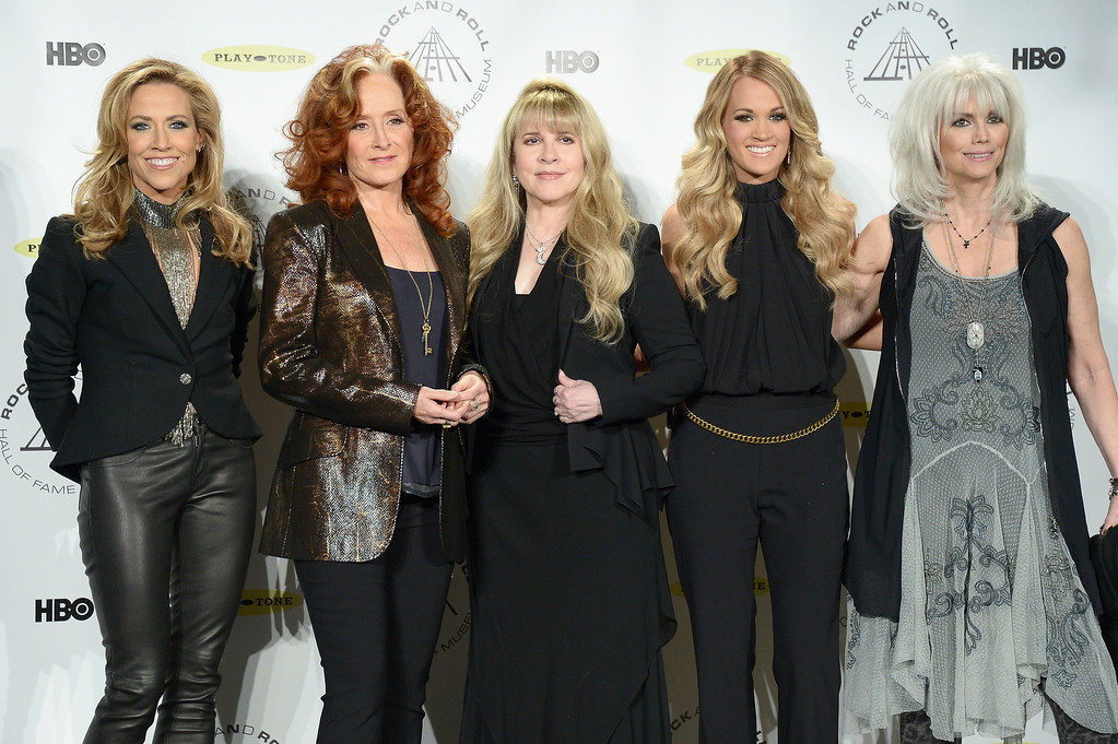 Description of . (L-R) Musicians Sheryl Crow, Bonnie Raitt, Stevie Nicks, Carrie Underwood and Emmylou Harris attend the 29th Annual Rock And Roll Hall Of Fame Induction Ceremony at Barclays Center of Brooklyn on April 10, 2014 in New York City.  (Photo by Michael Loccisano/Getty Images)