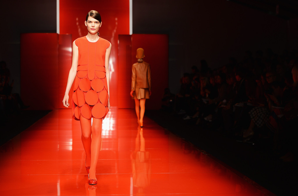 Description of . LONDON, ENGLAND - FEBRUARY 16:  A model walks the runway at the Jasper Conran show during London Fashion Week Fall/Winter 2013/14 at Somerset House on February 16, 2013 in London, England.  (Photo by Ian Gavan/Getty Images)