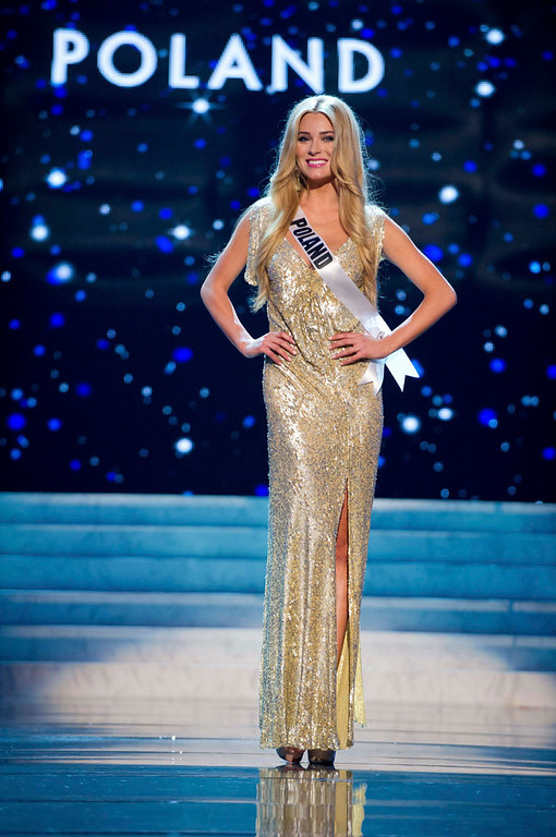 Description of . Miss Poland 2012 Marcelina Zawadzka competes in an evening gown of her choice during the Evening Gown Competition of the 2012 Miss Universe Presentation Show in Las Vegas, Nevada, December 13, 2012. The Miss Universe 2012 pageant will be held on December 19 at the Planet Hollywood Resort and Casino in Las Vegas. REUTERS/Darren Decker/Miss Universe Organization L.P/Handout