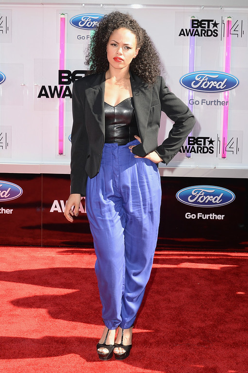 Description of . Singer Elle Varner attends the BET AWARDS '14 at Nokia Theatre L.A. LIVE on June 29, 2014 in Los Angeles, California.  (Photo by Earl Gibson III/Getty Images for BET)