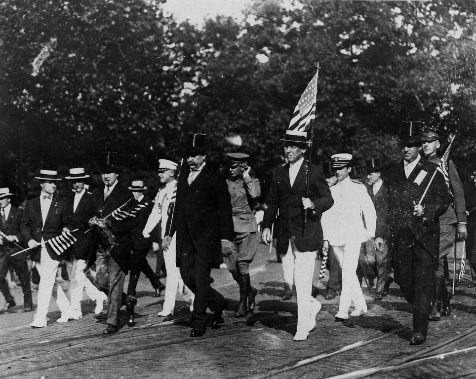 Description of . President Woodrow Wilson leads the Draft Parade in Washington, D.C., Sept. 4, 1917. Five months earlier congress had adopted and approved the resolution declaring a state of war exists between the U.S. and the Imperial German Government. (AP Photo)