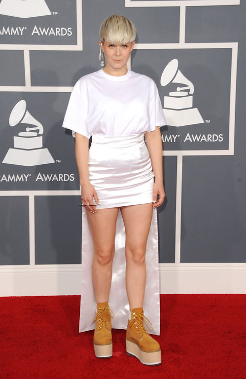 Description of . Singer Robyn arrives at the 54th Annual GRAMMY Awards held at Staples Center on February 12, 2012 in Los Angeles, California.  (Photo by Jason Merritt/Getty Images)