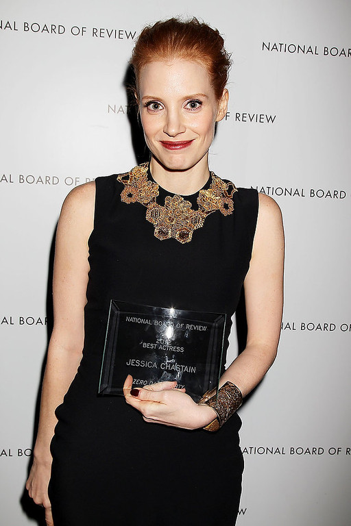 Description of . This Jan. 8, 2013 photo released by Starpix shows actress Jessica Chastain with her award for best actress for her role in