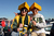 (L-R) Green Bay Packers fans Ruben Soto Jr. and Ruben Soto Sr. of Antioch, California pose prior to the NFC Divisional Playoff Game between the Green Bay Packers and the San Francisco 49ers at Candlestick Park on January 12, 2013 in San Francisco, California.  (Photo by Thearon W. Henderson/Getty Images)