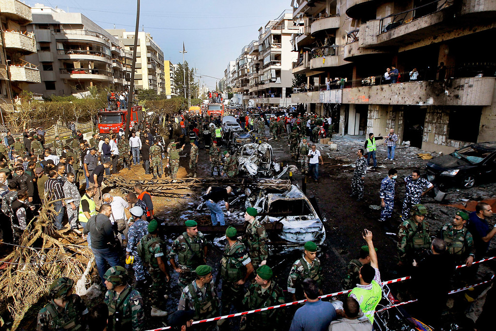 . A general view shows the damage at the scene of two suicide explosions near the Iranian embassy in south Beirut, Lebanon, 19 November 2013.   EPA/NABIL MOUNZER