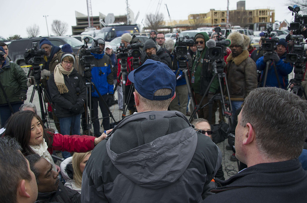 Description of . Howard County Police Chief Bill McMahon (C) speaks during a press conference outside the Columbia Mall after a fatal shooting on January 25, 2014.     AFP PHOTO / Jim WATSON/AFP/Getty Images