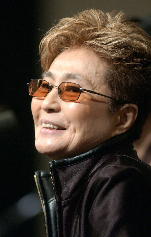 Description of . Artist Yoko Ono speaks at a news conference regarding her show