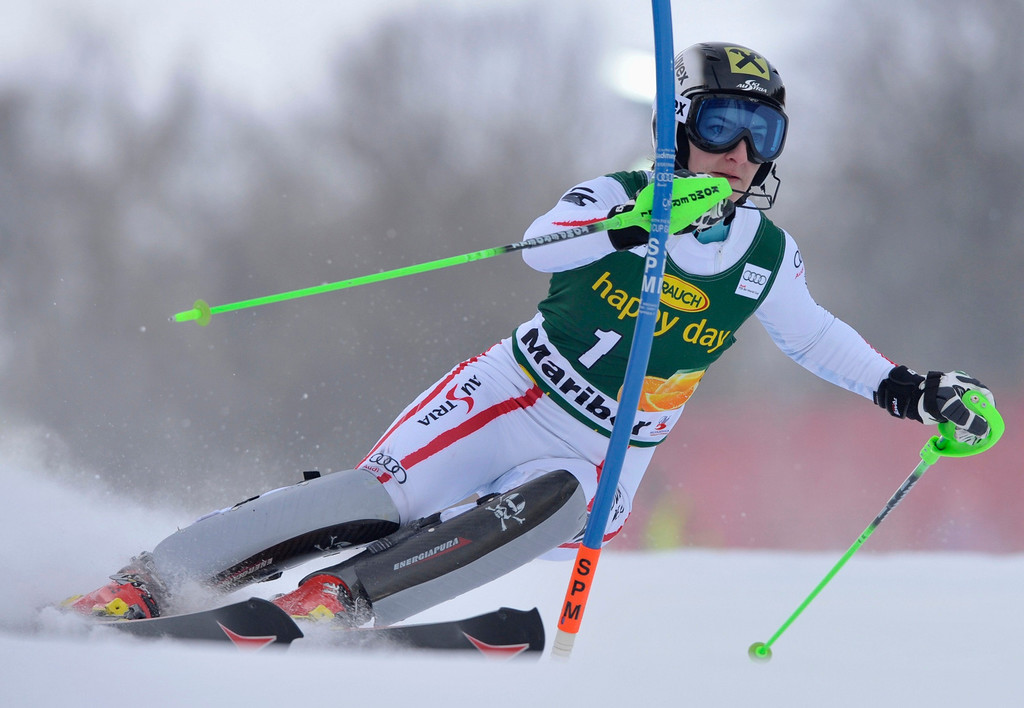 . Kathrin Zettel of Austria clears a gate during the first run of the Alpine Skiing World Cup women\'s slalom ski race in Maribor January 27, 2013. REUTERS/Srdjan Zivulovic