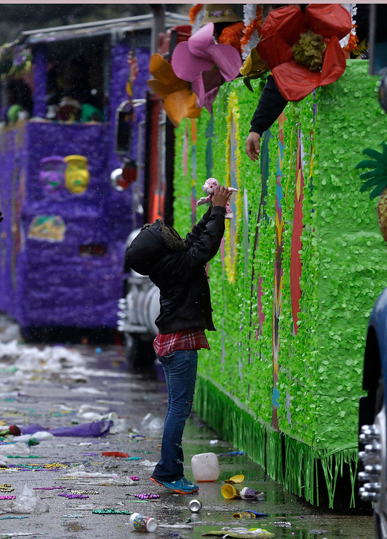 Description of . A lone child reaches for a stuffed toy handed to him from a float rider during Mardi Gras in New Orleans, Tuesday, March 4, 2014. Rain and unusually cold temperatures kept most of the normally massive and festive crowds away.  (AP Photo/Gerald Herbert)