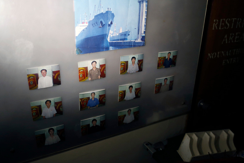 Description of . Portraits of crew are seen in one of the rooms inside a North Korean flagged ship