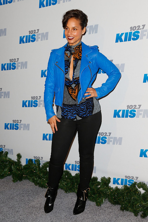Description of . Singer Alicia Keys attends KIIS FM's 2012 Jingle Ball at Nokia Theatre L.A. Live on December 3, 2012 in Los Angeles, California.  (Photo by Imeh Akpanudosen/Getty Images)
