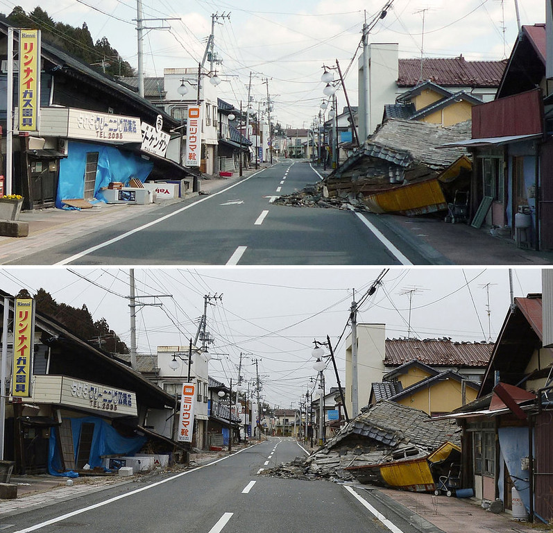 Description of . This combination photo taken April 12, 2011 and distributed by Nagatoshi Shimoeda, top, and taken Friday, March 1, 2013, by Kyodo News, shows a street in Futaba in the exclusion zone around the tsunami-ravaged Fukushima Dai-ichi nuclear power plant in Fukushima prefecture. It has been two years since the March 11, 2011 earthquake and tsunami in Japan which devastated the northeastern Pacific coast of the country. The meltdowns at the power plant have caused the plant to release radiation into the surrounding air, soil and ocean and displaced about 160,000 people from around the plant. They are uncertain when or if they will be able to return home. (AP Photo/Kyodo News)