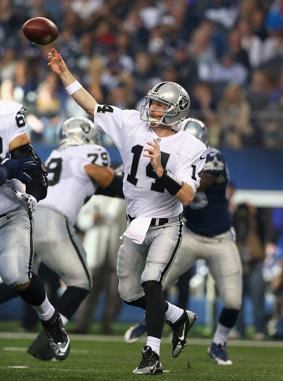 Description of . Matt McGloin #14 of the Oakland Raiders throws the ball against the Dallas Cowboys at AT&T Stadium on November 28, 2013 in Arlington, Texas.  (Photo by Ronald Martinez/Getty Images)
