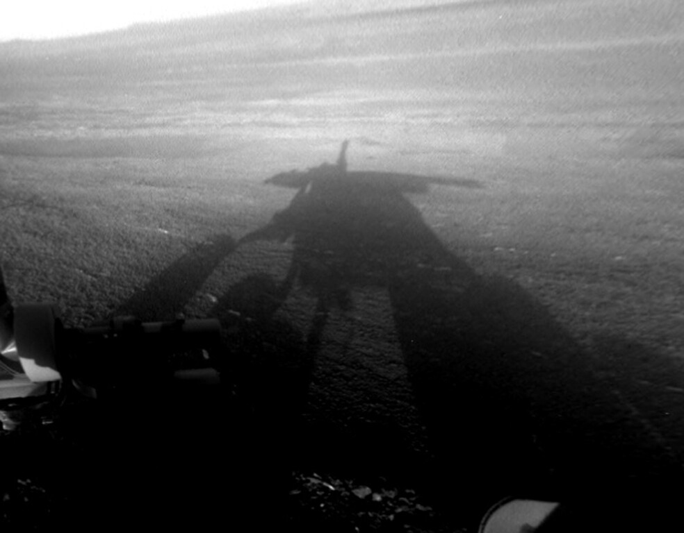 Description of . This image provided by NASA shows a shadow self-portrait taken by NASAís Opportunity rover on the Martian surface. The solar-powered spacecraft has been exploring a huge crater in the Martian southern hemisphere and has detected what appear to be clay minerals. (AP Photo NASA)
