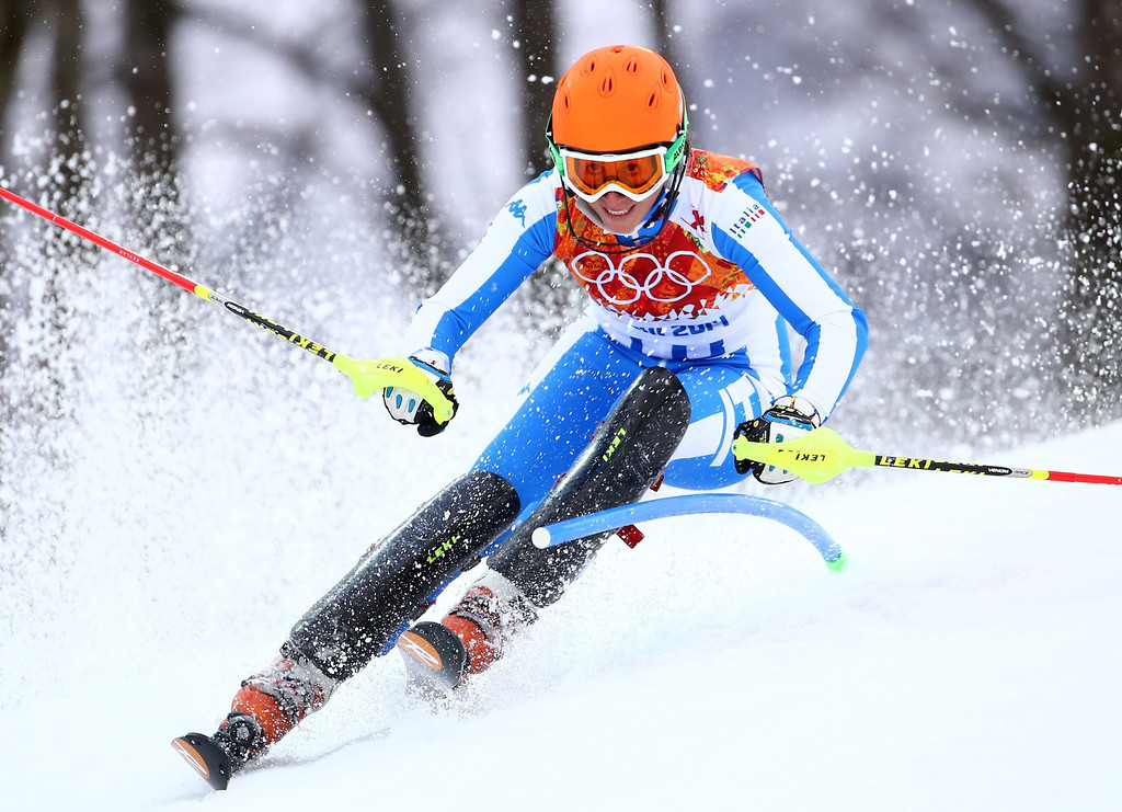 Description of . Chiara Costazza of Italy in action during the first run of the Women's Slalom race at the Rosa Khutor Alpine Center during the Sochi 2014 Olympic Games, Krasnaya Polyana, Russia, 21 February 2014.  EPA/MICHAEL KAPPELER