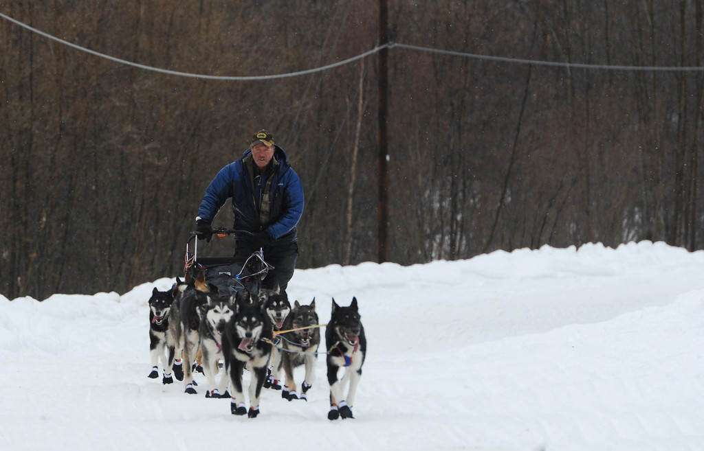 Description of . Musher Sonny Lindner arrives at the Iditarod checkpoint in Anvik, Alaska on Friday, March 8, 2013,  during the Iditarod Trail Sled Dog Race. (AP Photo/Anchorage Daily News, Bill Roth)