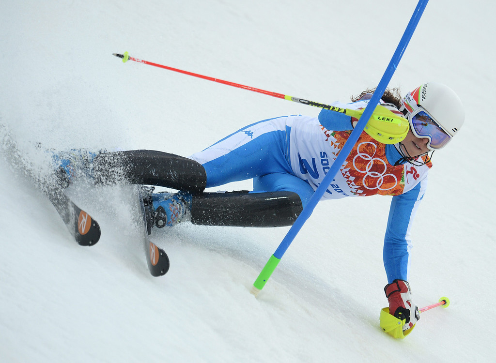 Description of . Frederica Brignone of Italy in action during the first run of the Women's Slalom race at the Rosa Khutor Alpine Center during the Sochi 2014 Olympic Games, Krasnaya Polyana, Russia, 21 February 2014.  EPA/VASSIL DONEV