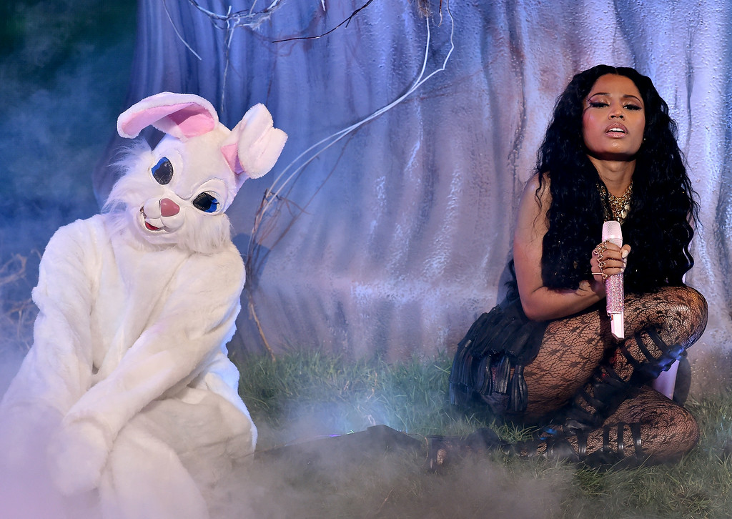 Description of . Singer Nicki Minaj performs onstage during the BET AWARDS '14 at Nokia Theatre L.A. LIVE on June 29, 2014 in Los Angeles, California.  (Photo by Kevin Winter/Getty Images for BET)