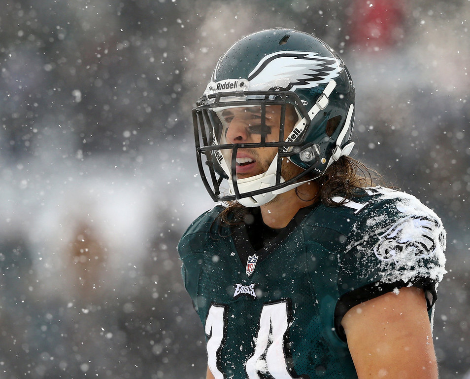 Description of . Riley Cooper #14 of the Philadelphia Eagles looks on in between plays in the third quarter against the Detroit Lions on December 8, 2013 at Lincoln Financial Field in Philadelphia, Pennslyvania.  (Photo by Elsa/Getty Images)