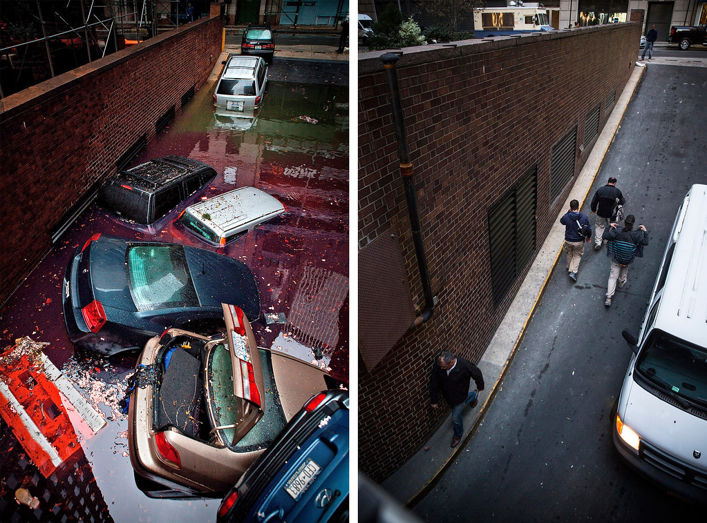 Description of . NEW YORK, NY - OCTOBER 30:  (left) Destroyed cars float in a flooded car garage due to Superstorm Sandy October 30, 2012  in New York City.  NEW YORK, NY - OCTOBER  22:  (bottom) People walk in and out of the garage on October 22, 2013 in New York, City.  Hurricane Sandy made landfall on October 29, 2012 near Brigantine, New Jersey and affected 24 states from Florida to Maine and cost the country an estimated $65 billion.   (Photos by Andrew Burton/Getty Images)