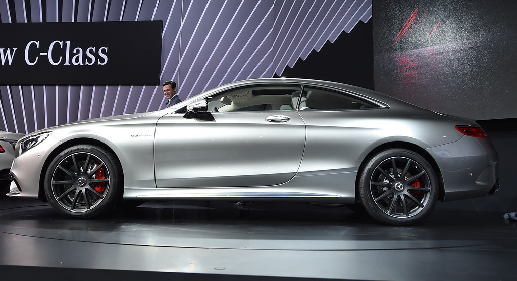 . Actor Jon Hamm introduces the 2015 Mercedes-Benz S63 Coupe on display during the first  press preview day at the 2014 New York International Auto Show  April 16, 2014  at the Jacob Javits Center in New York . AFP PHOTO / Timothy A. Clary/AFP/Getty Images