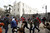 Egyptians demonstrators scatter during clashes with riot police in Tahrir Square on January 25, 2013.  Huge crowds are expected to demonstrate in Egypt on the second anniversary of the revolution that ousted Hosni Mubarak and brought in an Islamist government, as political tensions simmer and economic woes bite. MOHAMMED ABED/AFP/Getty Images