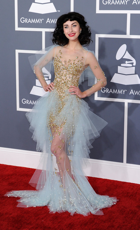 Description of . Kimbia arrives to  the 55th Annual Grammy Awards at Staples Center  in Los Angeles, California on February 10, 2013. (Michael Owen Baker, staff photographer)