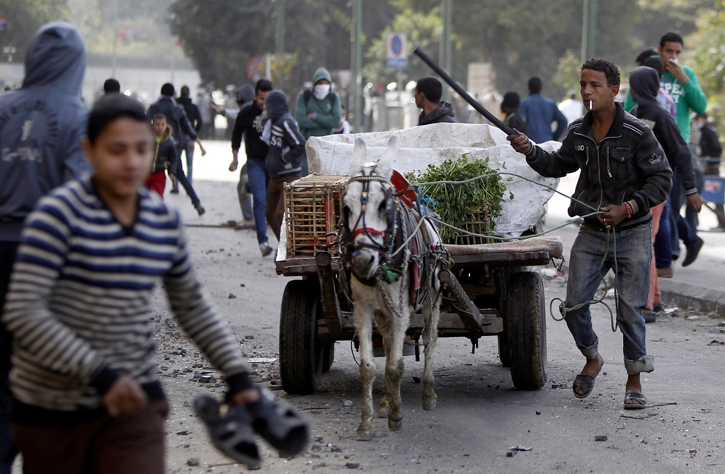 Description of . A man runs with his donkey cart as protesters opposing Egyptian President Mohamed Mursi flee from tear gas fired by riot police during clashes along Qasr Al Nil bridge leading to Tahrir Square in Cairo January 28, 2013.  REUTERS/Amr Abdallah Dalsh