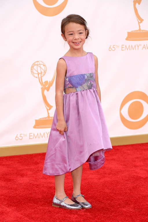 Description of . Actress Aubrey Anderson-Emmons arrives at the 65th Annual Primetime Emmy Awards held at Nokia Theatre L.A. Live on September 22, 2013 in Los Angeles, California.  (Photo by Kevork Djansezian/Getty Images)
