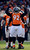 Denver Broncos defensive end Elvis Dumervil (92) amps up the crowd prior to the start of the Denver Broncos vs Baltimore Ravens AFC Divisional playoff game at Sports Authority Field Saturday January 12, 2013. (Photo by Hyoung Chang,/The Denver Post)