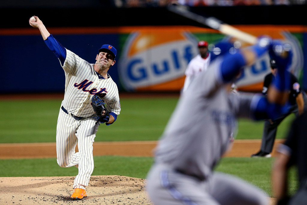 Description of . National League All-Star Matt Harvey #33 of the New York Mets pitches during the 84th MLB All-Star Game on July 16, 2013 at Citi Field in the Flushing neighborhood of the Queens borough of New York City.  (Photo by Elsa/Getty Images)