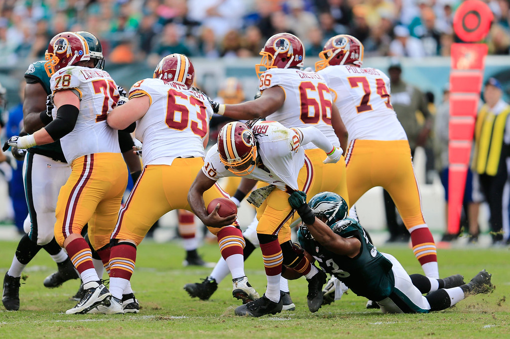 Description of . Linebacker Najee Goode #53 of the Philadelphia Eagles sacks quarterback Robert Griffin III #10 of the Washington Redskins during the first half at Lincoln Financial Field on November 17, 2013 in Philadelphia, Pennsylvania.  (Photo by Rob Carr/Getty Images)