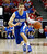 Air Force's Todd Fletcher drives downcourt during the first half of a Mountain West Conference tournament NCAA college basketball game against UNLV, Wednesday, March 13, 2013, in Las Vegas. UNLV defeated Air Force 72-56. (AP Photo/Isaac Brekken)
