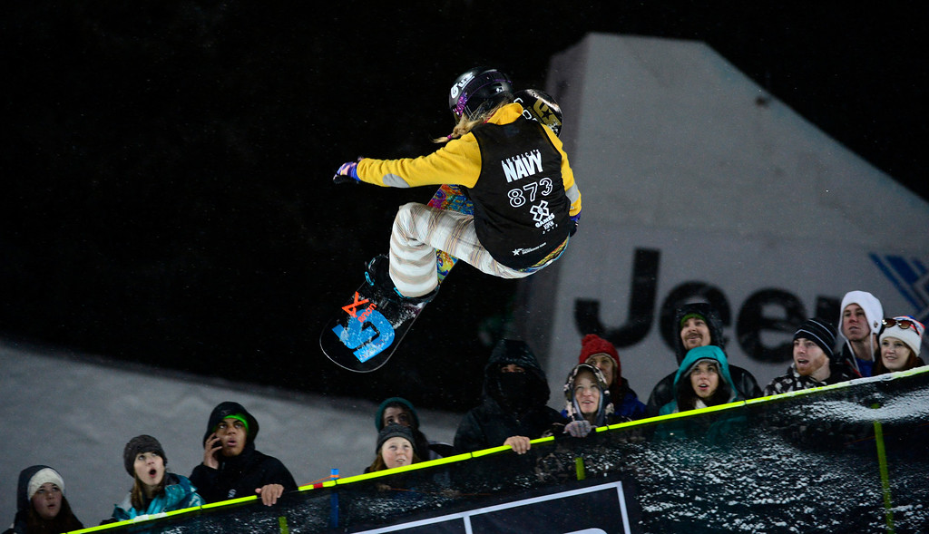 Description of . ASPEN, CO. - JANUARY 26:  Hannah Teter  during her first run in the Snowboard Super Pipe Women's Final, January 26, 2013. The  2013 Winter X Games at Buttermilk Mountain in Aspen. (Photo By Mahala Gaylord/ The Denver Post)
