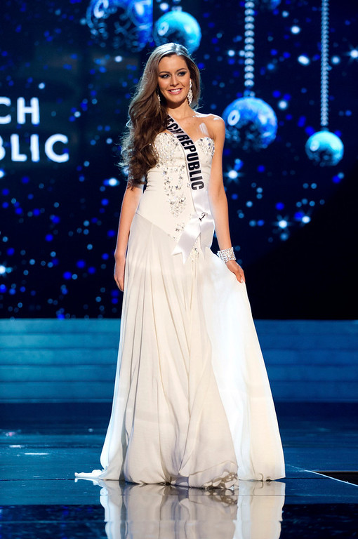 Description of . Miss Czech Republic 2012 Tereza Chlebovska competes in an evening gown of her choice during the Evening Gown Competition of the 2012 Miss Universe Presentation Show in Las Vegas, Nevada, December 13, 2012. The Miss Universe 2012 pageant will be held on December 19 at the Planet Hollywood Resort and Casino in Las Vegas. REUTERS/Darren Decker/Miss Universe Organization L.P/Handout