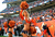 DENVER - Denver Broncos cheerleaders pump up the crowd in the first half of the game against Tampa Bay Sunday at Sports Authority Field. Steve Nehf, The Denver Post