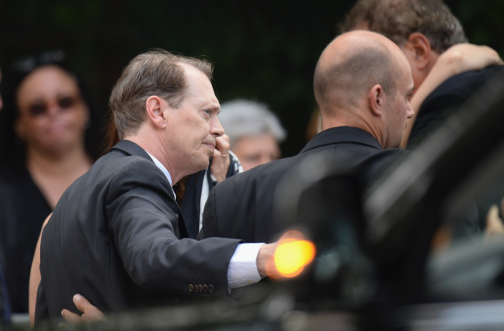 Description of . Actor Steve Buscemi attends the funeral for actor James Gandolfini at The Cathedral Church of St. John the Divine on June 27, 2013 in New York City.  (Photo by Mike Coppola/Getty Images)