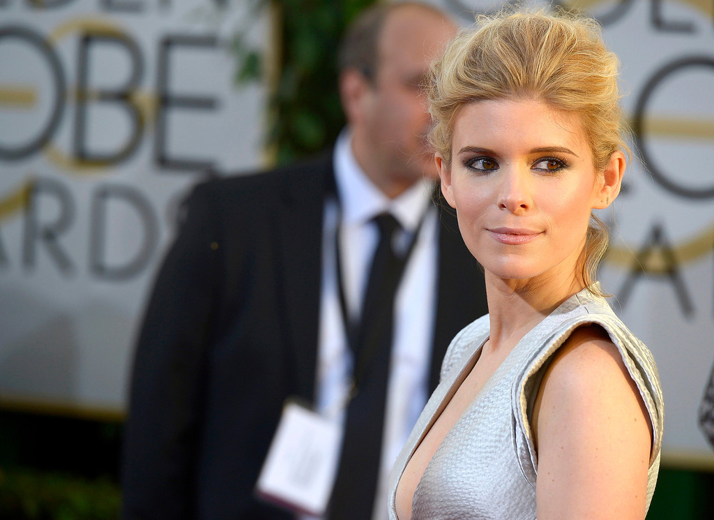 Description of . Kate Mara arrives for the 71st Annual Golden Globe Awards at the Beverly Hilton, in Beverly Hills, California, USA, 12 January 2014.  EPA/PAUL BUCK