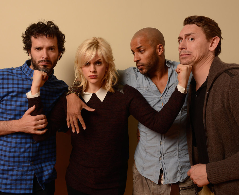 Description of . (L-R) Actors Bret McKenzie, Georgia King, Ricky Whittle and JJ Feild pose for a portrait during the 2013 Sundance Film Festival at the Getty Images Portrait Studio at Village at the Lift on January 19, 2013 in Park City, Utah.  (Photo by Larry Busacca/Getty Images)