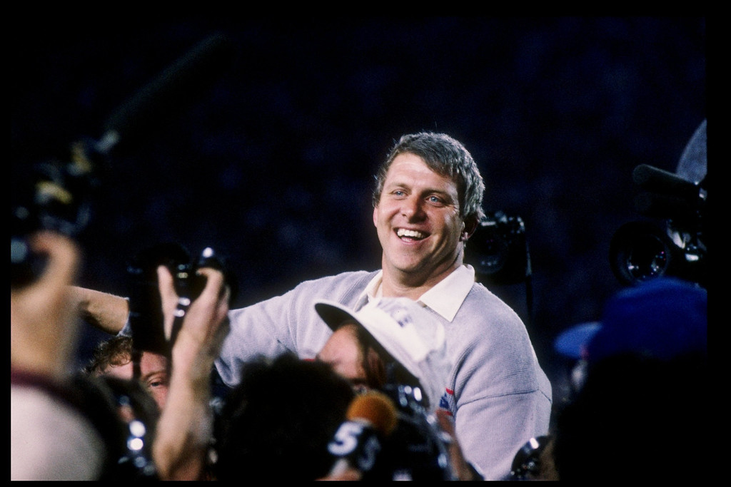 Description of . 25 Jan 1987: Head coach Bill Parcells of the New York Giants celebrates after Super Bowl XXI against the Denver Broncos at the Rose Bowl in Pasadena, California. The Giants won the game 39-20.