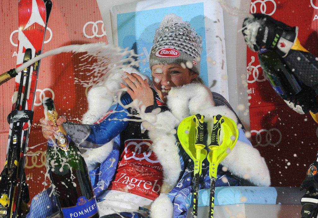 Description of . Mikaela Shiffrin of the USA takes 1st place during the Audi FIS Alpine Ski World Cup Women's Slalom on January 4, 2013 in Zagreb, Croatia. (Photo by Alexis Boichard/Agence Zoom/Getty Images)